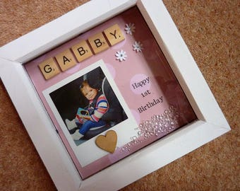 Birthday Girl Gift First Birthday Second Birthday Gift Photo Frame Personalised Any Age Girl Gift