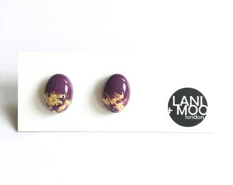 Oval Purple Resin Stud Metallic Gold Leaf Statement Earrings!