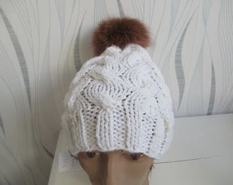 White Pompom wool fur hat knitting, mothers day