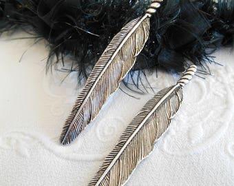 x 2 pendants feather 80 mm antique silver.