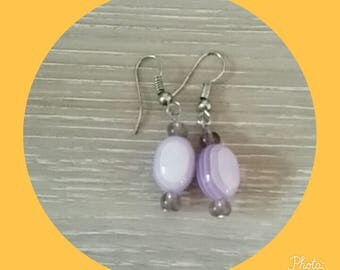 Purple earring with Pearl