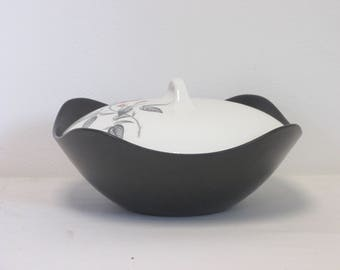 Retro 1950s/1960s Midwinter Fashion Carmen Rose Design Matt Black Lidded Tureen