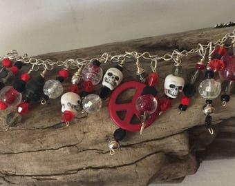 Peace Skull Charm Bracelet red black white crystal smokey quartz silver