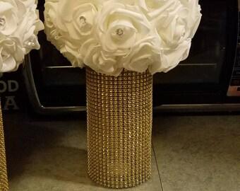 White foam flower ball with vase