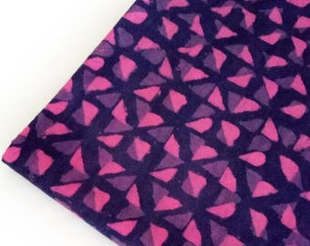 Cotton Fabric Pink and Blue Cotton Fabric Hand Block Geometric Printed Cotton Fabric for Dress Making