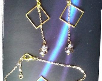 Golden bracelet & earrings crystals beads