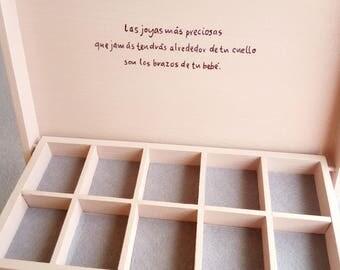 Girls custom memory box, jewelry box for baby, Christmas gift, box Time, Jeweler custom wooden box baby