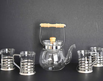 Clear glass and silver Tea set~ Tea pot and four mugs~Modern~Scandinavian~ Retro~Unique~Silver~Vintage~Gift~