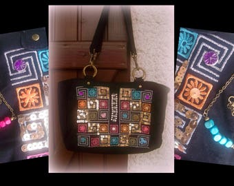 Matching purse has hippie style + 2 necklaces