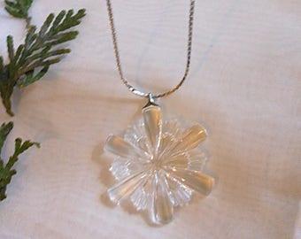 Gorham 1970's Crystal Snowflake Pendant