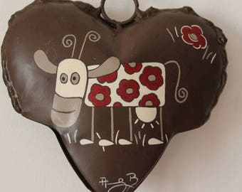 "TO order: Heart Bell metal Decoration ""Cow in flowers"""