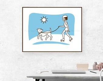 Girl and Dog - Silkscreen Poster