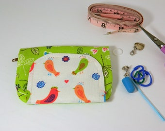 Knitting Notions Pouch, Knitting Notions Case, Knitting Notions Wallet, Knitting Organization - Green, Birds