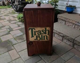 Trash bin, vintage trash bin, wooden trash bin, vintage decor, refurbished furniture, rustic decor, trash can, wooden storage, kitchen decor