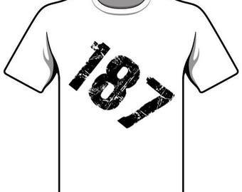 187 police code slogan T-Shirt gift sayings tshirt glitter 187 police code