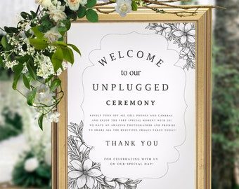 Unplugged Wedding, Unplugged Wedding Sign, Unplugged Ceremony Sign, Unplugged Sign, Wedding Unplugged, Instant Download, PDF, #HQT003_6