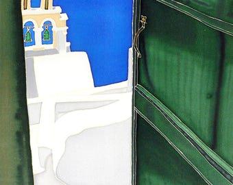 Painting on silk Santorini Greece