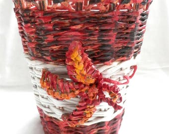 Knitted Basket With Ornament Flower