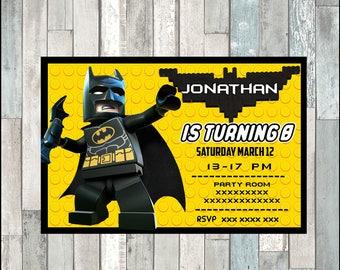 50%OFF Lego Batman Invitation, Lego Batman Invitations, Lego Batman Birthday, Lego Batman Party, Movie Invites, Lego Invite