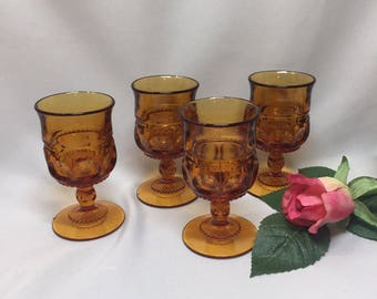 Tiny King's Crown Cordial Glasses by Tiffin Amber - set of 4