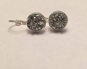 10mm faux chunky silver cabachons