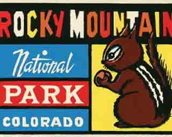 Vintage Style  Colorado CO Rocky Mountain National Park     Travel Decal sticker