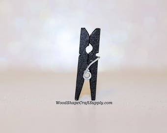 100- 1 Inch Black Wood Clothespins - Mini Wooden Clothespins for Crafts - Photo Hanging - Miniatures - DIY Craft Supplies