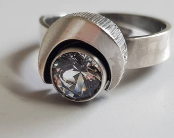 Karl Laine Finland ring with mountain Crystal Silver