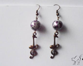Bronze earrings purple Pearl and treble clef music charms