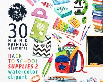 SCHOOL clipart, school supplies clipart, watercolor clipart,back to school clipart,stock illustration,school supplies,books,