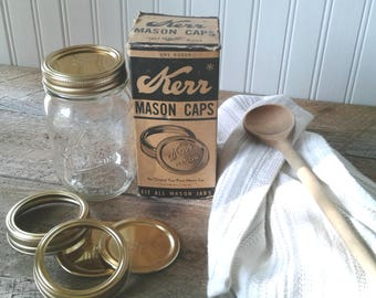Vintage Kerr Canning Lids, 1950's, Vintage Canning Lids, Set of 12, Gold, Canning Lids, Preserve Lids, Jam Lids, Advertising, Kitchen Decor