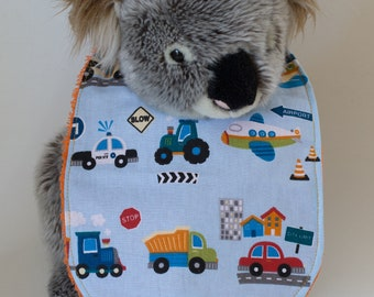 "Baby bib with Terry towel ""Vehicles"""