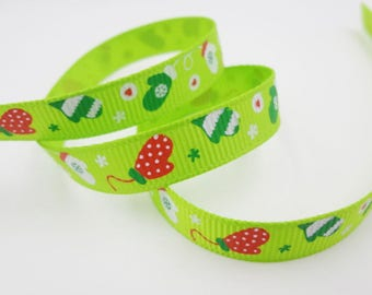 Green pattern Ribbon mittens (x 1 meter)