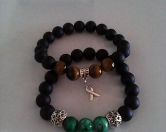 Mens black onyx, Tiger eye, turquoise bracelet