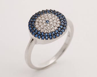 Protect Evil Eye Turkish Nazar Handmade 925 Sterling Silver Round Cut Sapphire White Topaz Rhodium Ring for Gift for Her Size 7.5