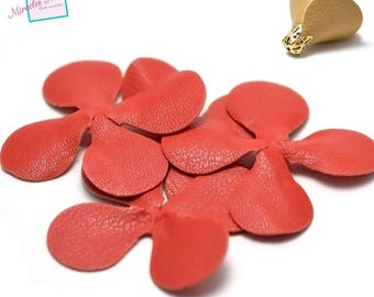 4 flowers (petal) 7, 5 x 7, 5 mm red leatherette