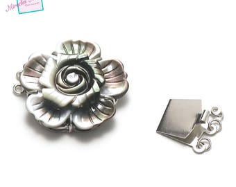 """flower"" 1 gorgeous mother-of-Pearl clasp triple strand, 32 x 10 mm, black/silver gray"
