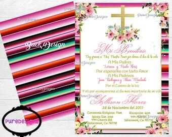 Mexican Bautizo Invitation, Mexican Baptism Invitation, Bautizo Invitations, Mi Bautizo Invitation, Invitaciones Bautizo