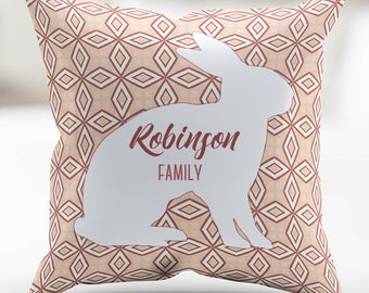 Personalized White Bunny - Pink Print Pillow Cover 18 x 18 Inches