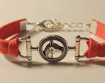 Pink Suede, metal horse Medallion bracelet