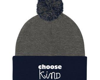 Choose Kind Wonder Pom Pom Knit Cap RJ Palacio anti bullying kindness positive message, acceptance, perseverance, school wonder movie