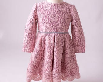 Babygirl dress, Toddler dress, Fancy dress, Pageant dress, pink lace Dress