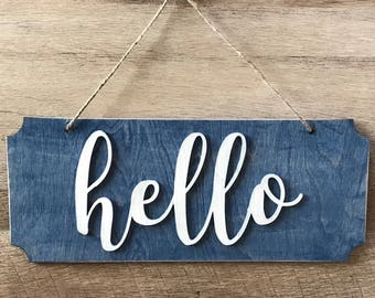 Hello Sign - Farmhouse Style Navy Blue Hanging Hello Sign