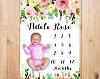 Baby Milestone Blanket Personalized - Track baby's growth, photo prop, perfect baby shower gift, customized with baby's name, baby girl gift