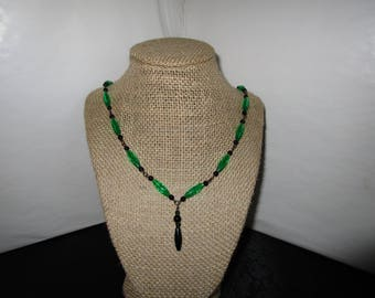 Clear Green Beaded Necklace