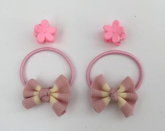 Pink Bow-knot - Elastic band - Girls Hair Clip - Baby Girl Hair Clips - Kids Hair Clips
