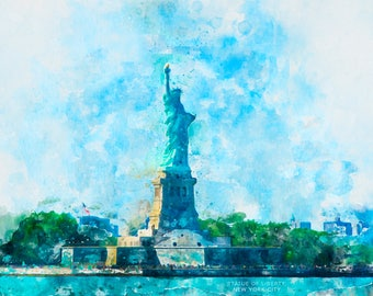 Statue of Liberty, New York City Print, Manhattan, New York Print, Watercolor Print, Watercolor, New York Watercolor, Liberty Island