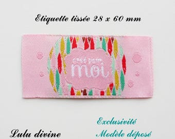 Woven label - created for me - 28 x 60 mm, pink