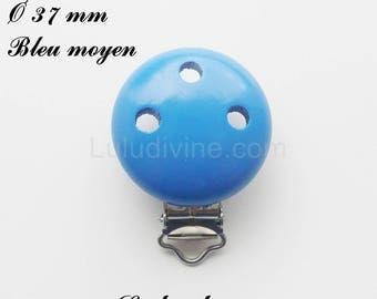 Clip / wooden pacifier Clip, Ø 37 mm from loop: medium blue