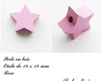 18 x 18 mm wooden bead, bead flat Star: Rose